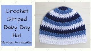 Crochet Striped Baby Boy Hat - Newborn to 3 months
