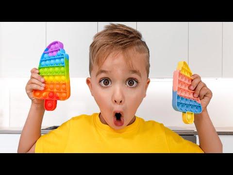 gửi hàng đi mỹ - Niki chơi và làm cho sô cô la bật nó - Funny trẻ em Video