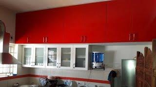 Red & White High Gloss Finish  For Ramya Modular Kitchen,  Mr. Somasundaram  Ayanavaram,