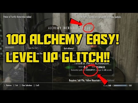 Skyrim Special Edition 100 Alchemy FAST in 10 Minutes!! Level Up Glitch! Infinite XP Glitch!!