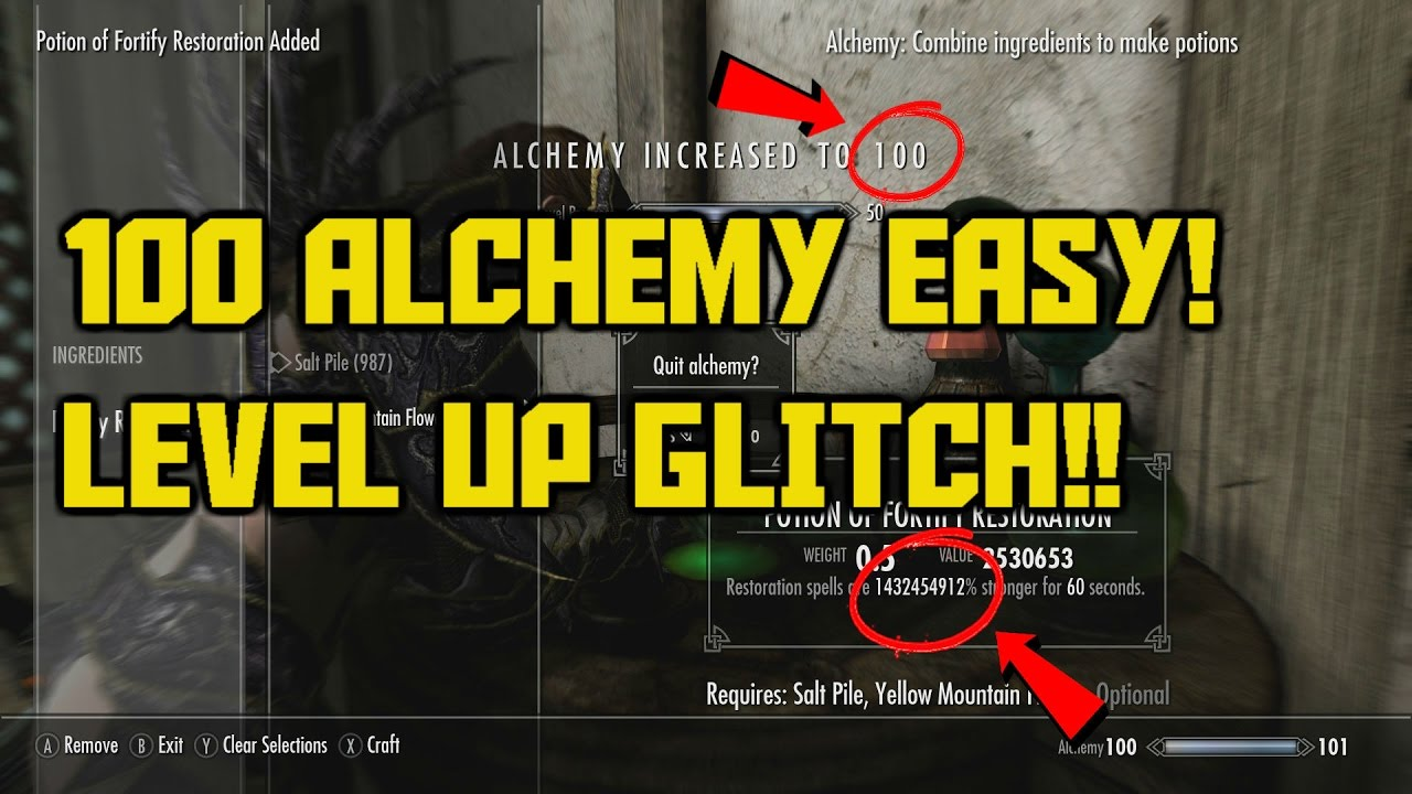 Skyrim Special Edition 100 Alchemy Fast In 10 Minutes Level Up