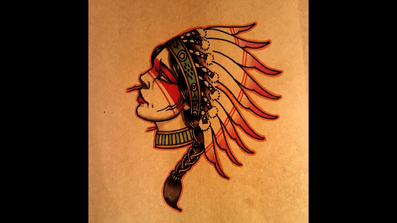 How to Draw a Old School Native American Woman Side View ...