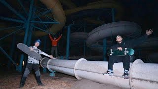 OVERNIGHT IN ABANDONED WATER PARK! (Incredibly Dangerous)