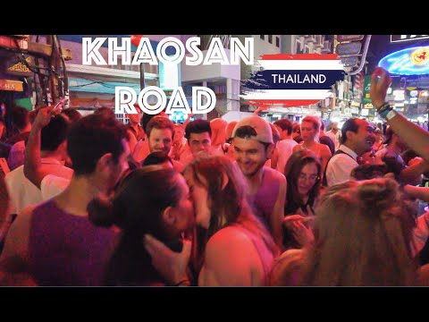 "KHAOSAN ROAD BEST PARTY STREET IN THE WORLD! BANGKOK CRAZY NIGHT LIFE! THAİLAND FEBRUARY 2020 ""4K"""