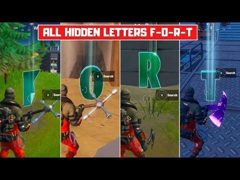All Hidden Letters in Fortnite (Week 1-4)! Search Hidden Letters F-O-R-T! - Fortnite Chapter 2