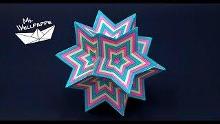 Sterne basteln zu Weihnachten - einfache Sternenkugel als Weihnachtsdeko