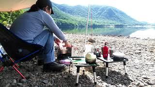 赤城山大沼の朝食風景、赤城山無料キャンプ場編山の天気は変わりやすい