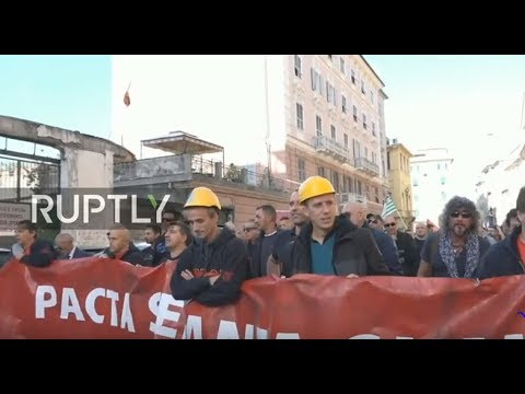 LIVE: Steel plant workers protest in Genoa