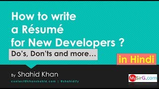 How to make your First Résumé ?  Do's, Don'ts and much more... (in Hindi)   LIVE