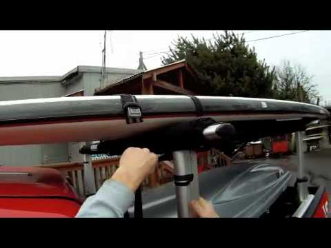 How to properly tie down a paddle board on a roof rack.