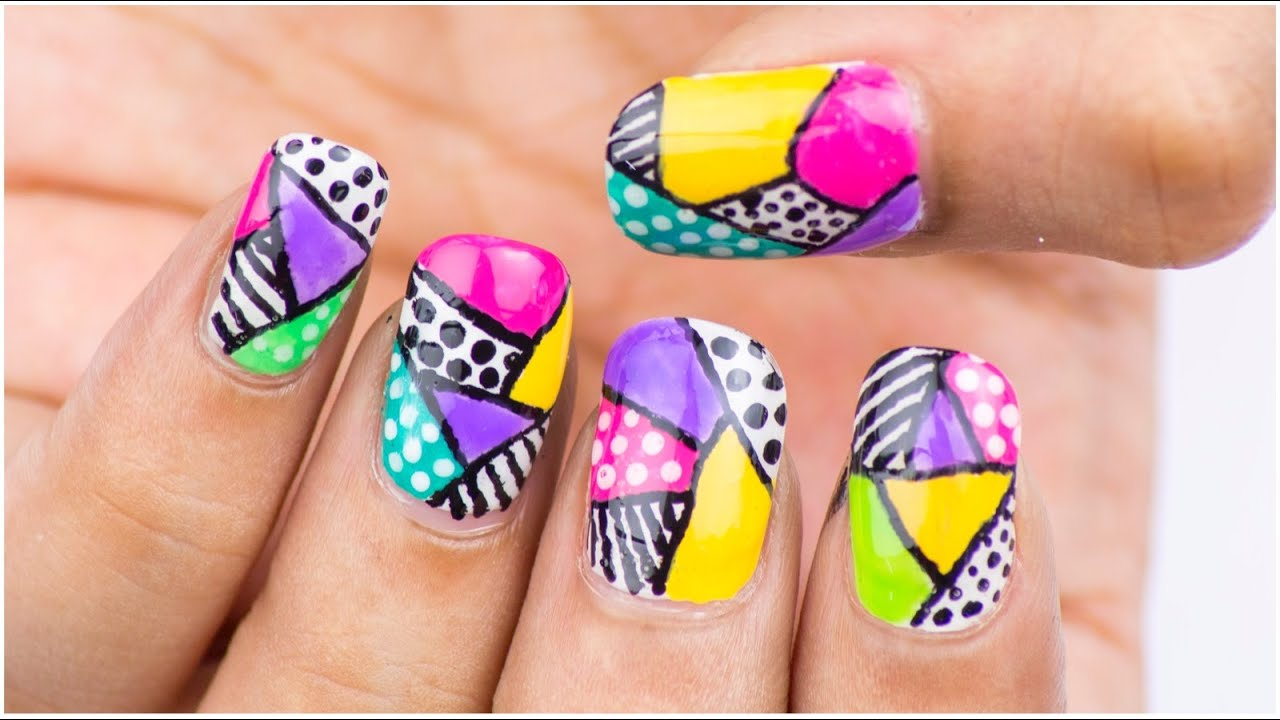 Easy abstract colour block nail art design chippernails youtube prinsesfo Images
