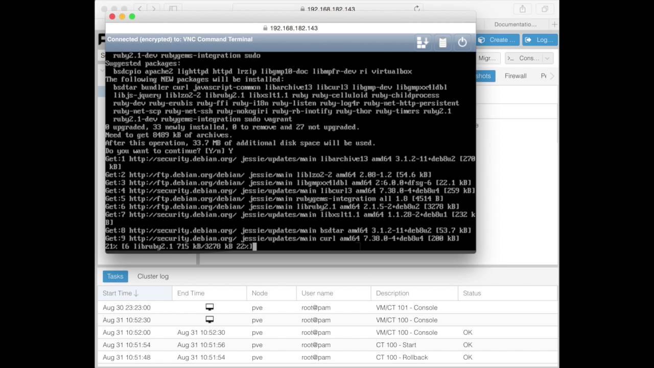 Proxmox 4 2 - Vagrant installation on LXC and snapshot mechanism