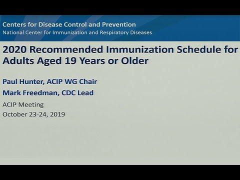 October 2019 ACIP Meeting - Adult Immunization Schedule