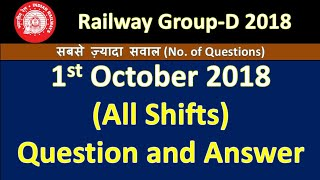 RRB Group-D All Shift (1st/oct/2018) Answer Key