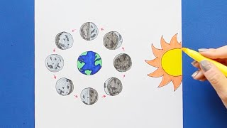 How to draw and color phases of the moon