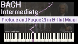 JS Bach - Prelude and Fugue 21 in B-flat Major | Synthesia Piano Tutorial | Library of Music