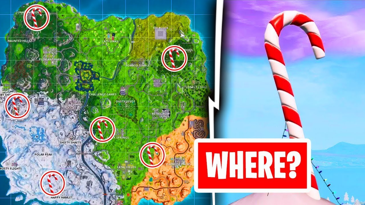 All Giant Candy Cane Locations Fortnite Battle Royale Youtube