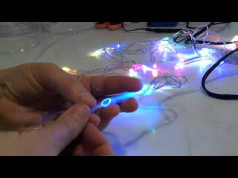 How to attach fiber optic filament to an LED