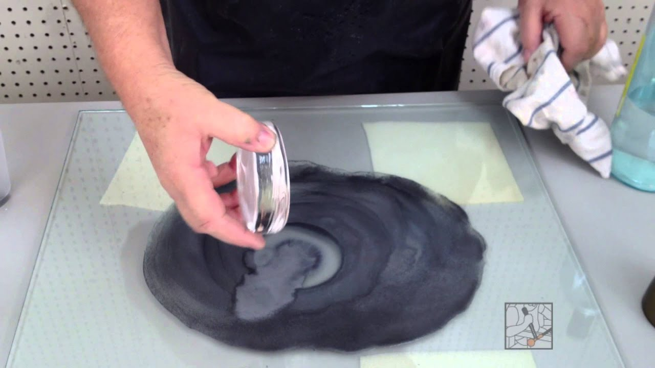 Glass grinding with silicon carbide by hand - YouTube