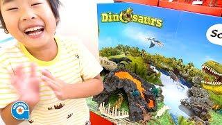 シュライヒの大火山とティラノサウルス恐竜ビッグセットで遊びました 【がっちゃん】Schleich