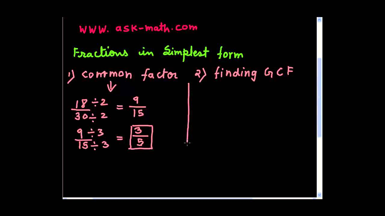 fractions in simplest form - YouTube