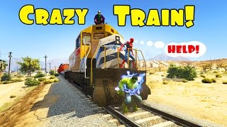 Spiderman and hulk saves city from crazy train. 3d animation cartoon for kids