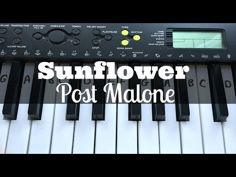 Sunflower - Post Malone & Swae Lee | Easy Keyboard Tutorial With Notes
