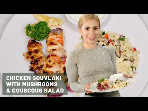 Chicken Souvlaki with Mushroom & Couscous Salad