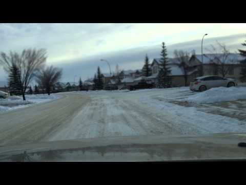 Driving around the neighbourhood in Calgary.