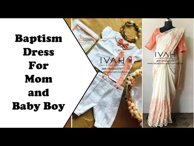 Baptism Matching Dress For Mom And Baby Boy In Kerala