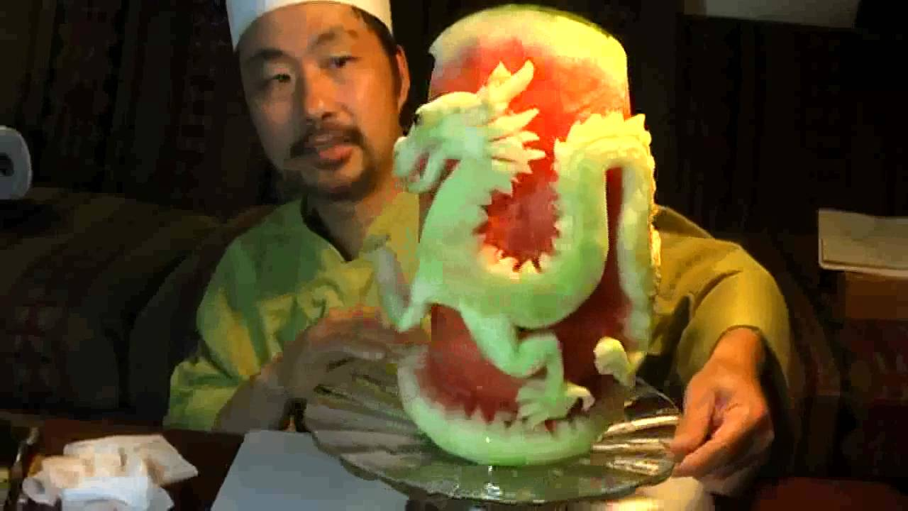 Chinese dragon on watermelon fruit carving youtube