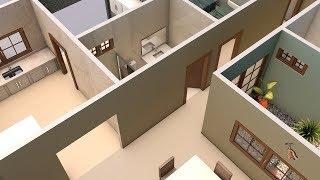 Planta de casa em 3D com três quartos sendo uma suite
