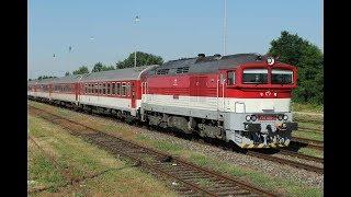 ESK081853 Slovakia express train Rýchlik vlak 721 Bojnice Bošany Diesellok rušeň ZSSK 757 016 τρένο