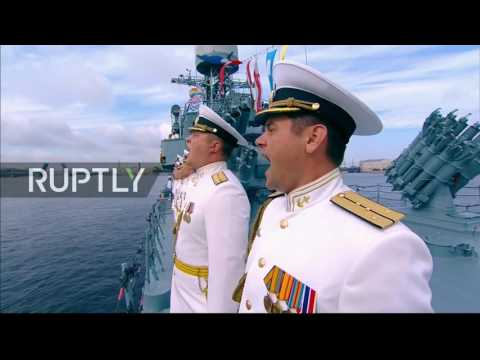 Russian President Putin attends maritime parade on Russia's Navy Day