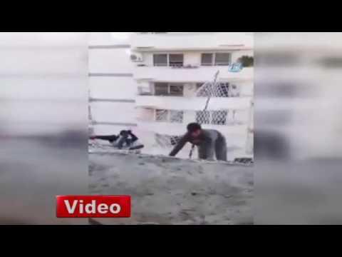 İnşaat işçilerinin tehlikeli testi kamerada
