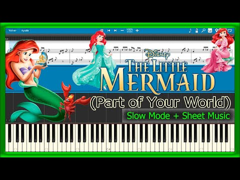 Part of Your World - The Little Mermaid [Slow + Sheet Music] (Piano Tutorial)