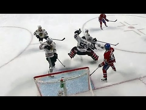 Crawford makes a jumping glove save on Byron