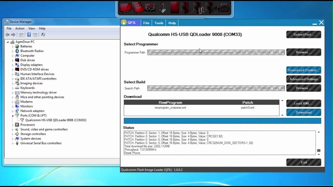 Flash Unbrick lenovo qualcomm hs-usb diagnostics 9008
