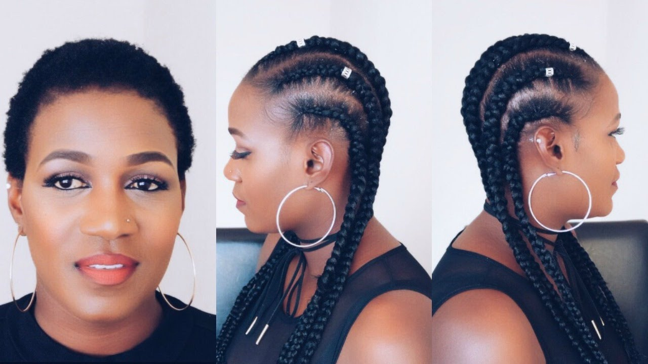 How To Feed In Braids On Short Natural 4c Hair Youtube