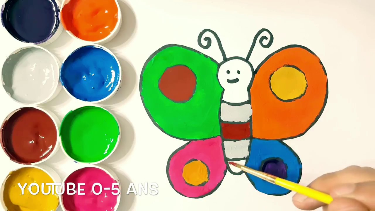 Dessin Papillon En Couleur dessiner un magnifique papillon couleurs peinture enfant - youtube