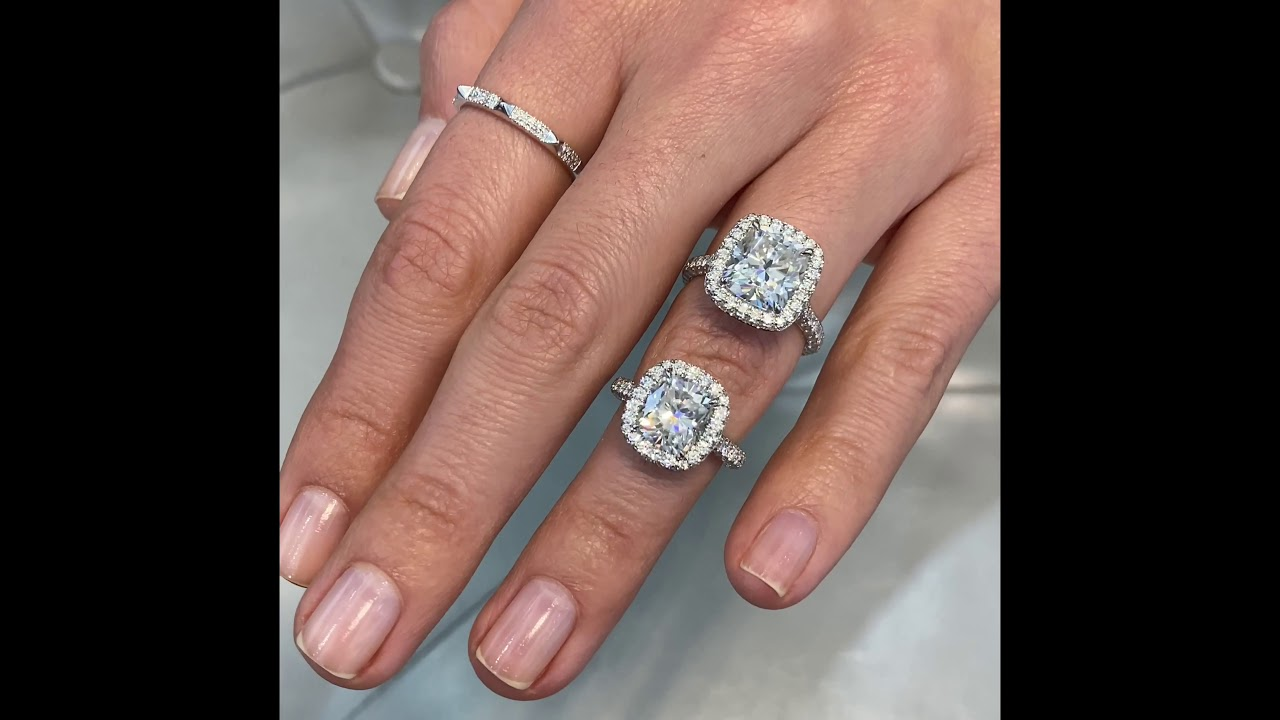Elongated Cushion Cut Moissanite Ring Comparison