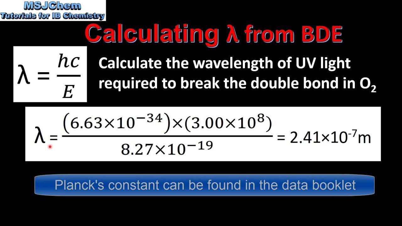 Binding Energy Wavelength Equation