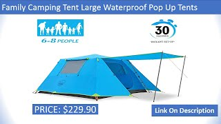 Details about  /Kazoo Family Camping Tent Large Waterproof Pop Up Tents3// 4//6 Person Room Cabin