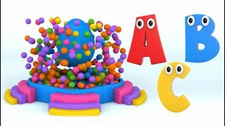 Learn Alphabet with Surprise Eggs and Color Balls for Children