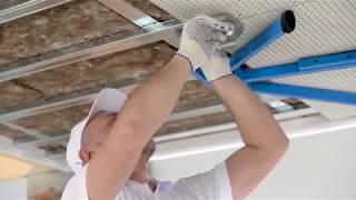 Монтаж акустического потолка из плит КНАУФ Акустика, СаундЛайн Акустические перфорированные панели.