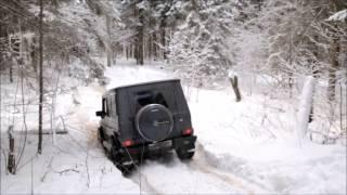 Gelandewagen  against serious SUVs. Winter Snow Offroad
