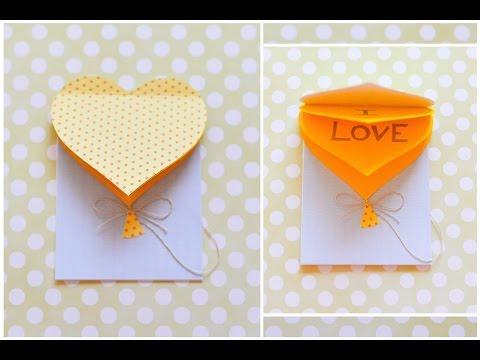 How to Make - Greeting Card Valentine's Day Heart - Step by Step DIY | Kartka Walentynki Serce