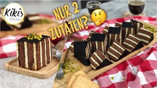 Fast cake with just 2 ingredients - Yes that's possible! Pudding-Cookie Cake with stripes