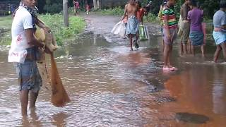 Fishing in village during flood situation, Must see....