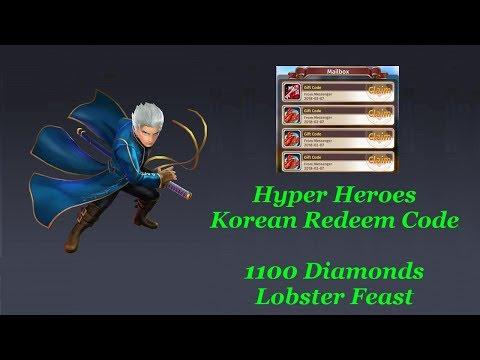 Hyper Heroes Korean Code 1100 Diamonds & Lobster